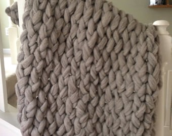 Spring Sale!! Giant Chunky Knit Blanket - Extreme Knitting-Natural Gray