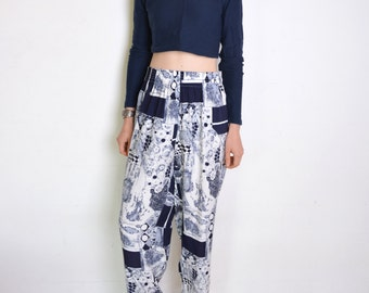 90's abstract print pants, slouch pants, wide trousers, navy blue and white  patterned