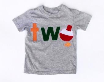 Fishing Birthday// Two/Boy//Shirt//Photo Prop//Birthday Shirt//Ready To Ship//NEW Birthday Banner Available