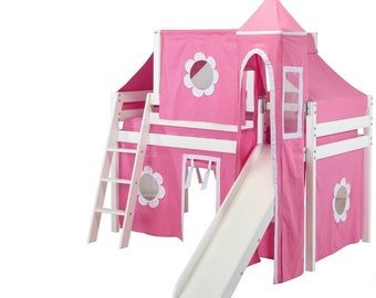 Twin Deluxe Loft Bed with Slide, Pink/White Curtain, Tower and Top Tent