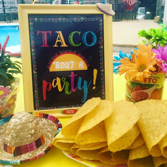 Fiesta Taco Party Sign, Fiesta Party Decorations, Mexican Party Sign, Taco Bout A Party