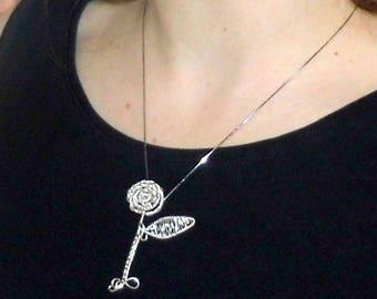 Rose pendant, flower pendant, wire jewelry, wire pendant