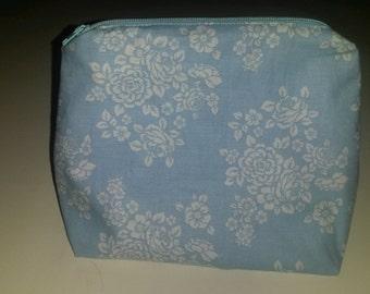 Blue Floral Makeup Bag