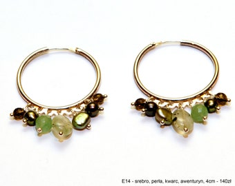 Silver hoops with green semi - precious stones. Green creole earrings.