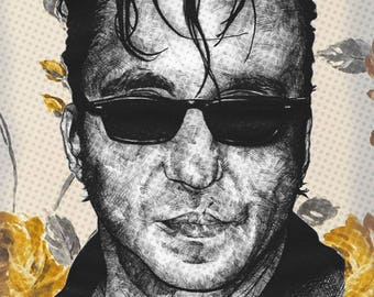 RichardHawley, OriginalArtPrint,Portrait,Wall Decor,Anniversary,Birthday Gift,Poster Art,Decorative Black and White, Colour Artwork
