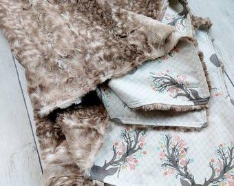 Floral Stag Minky Blanket