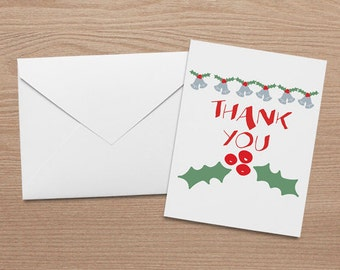 Holiday - Thank You Note Card Set with Matching Envelopes (5.5 x 4.25)