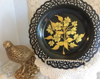 Vintage Black Tin Handpainted Plate with Gold Flowers, Signed by Artist, R etro, Shabby Chic, Vanity Tray, Scalloped Edges Floral