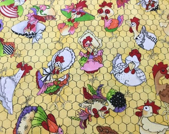 Chicken Chique Coopers Yellow ~ Chicken Chique Collection By Loralie Designs Fabric