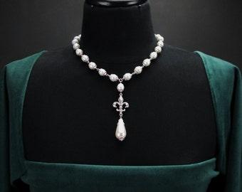 Milady Fleur pearl necklace silver, Renaissance necklace, pearl Renaissance jewelry, pearl silver jewelry, cosplay jewelry, fantasy jewelry