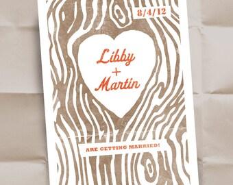 Custom Wedding Invitations - Save The Date - Personalized Dark Woodgrain Design - 150 Postcards