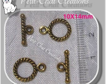 Golden 8 METAL TOGGLE CLASPS for BRACELET NECKLACE 10x14mm * O97