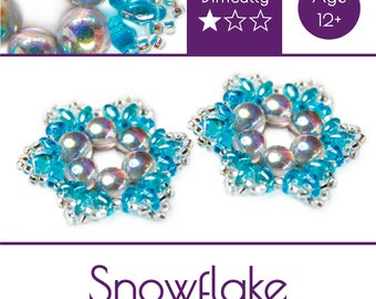 """Exclusive beading Kit for making two jewelry DIY """"Snowflake"""" (Aqua-Silver)) (SNW005)"""