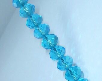 10 pearls 8mm turquoise swarovski crystal