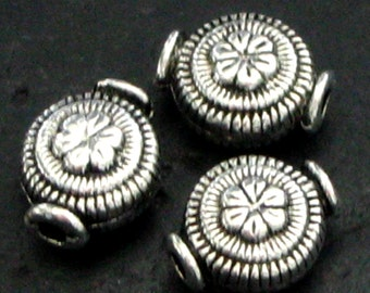 Vintage Style Puffy Round Pewter Spacer Beads with Floral Etching - Set of 30
