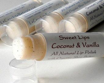 Vanilla Sugar Lip Scrub - All Natural Lip Polish with Shea Butter for Super Soft, Kissable Lips