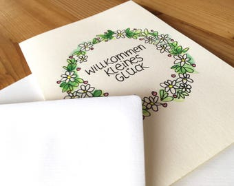 Folding Card welcome little luck Hand Painted