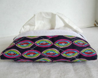 Pocket Tissue Holder Quilted Purple Funky Tissue Cozy