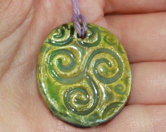 Light Green Raku Clay Pendant, Hostess Gift, Ceramic Ornament, Holiday Decor, Modern Home Decor