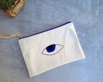 Evil Eye Clutch Bag - Boho Girlfriend Gift - White Canvas Clutch Bag - Summer Bag - Hand Embroidered Bag - Bohemian Bag - Gift for Her
