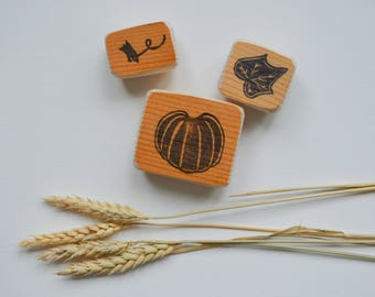 Pumpkin- Three Part Stamp- Pumpkin and Stump- Jack-o-lantern- Halloween- Fall Stamp- Holiday- Thanksgiving- Pumpkin Set- Hand Carved Rubber
