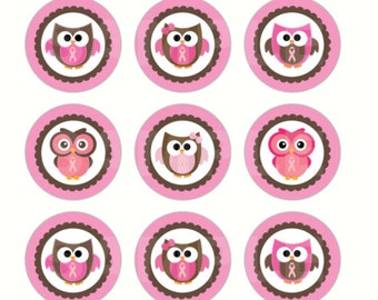 INSTANT DOWNLOAD - Breast Cancer Owl Bottle Cap Images - 4x6 Sheet - 1 Inch Circles for Bottlecaps, Hair Bow Centers, & More
