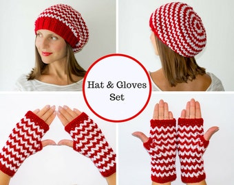 Hat and glove set, hat and mittens, fingerless gloves, fingerless mittens, womens gloves, womens beanies, womens winter hats, slouchy hat
