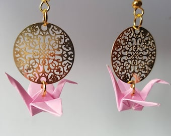 Origami crane pale pink earrings