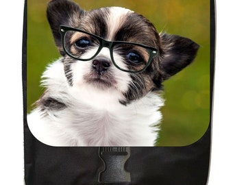 Chihuahua in Glasses Print Design - Backpack and Pencil Bag Set