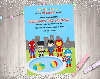 Superhero pool party birthday invitation Invite superhero birthday Party invite superhero party printable invitation photo picture