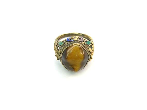 Art Deco Chinese Export Enamel Vermeil Tigers Eye Ring