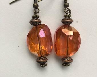 Crystal antique bronze drop earrings
