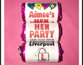 Personalised Hen Party Favours Mini Love Hearts Sweets Hen Night Hen Do Hen Weekend Hen Party goody bag ideas for the Bride to be
