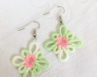 Green Tatted Lace Earrings with Pink Beads/Mint Green and Pink Earrings/Chandelier Earrings