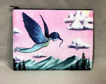 One Time I Had Wings - Zipper Pouch - Whimsical Girl With Wings Flying Over Mountains - Art by Marcia Furman