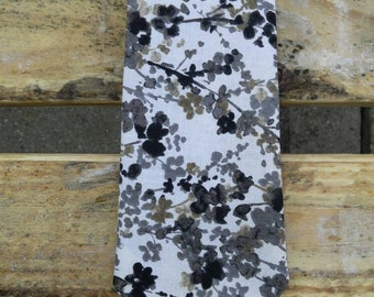 Black and Grey Water Color Floral Necktie, Black and White Necktie
