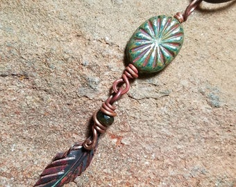 Copper Feather Handmade Boho Leather Necklace 24 Inches