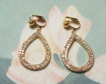 Teardrop Rhinestone Gold Christmas, Wedding, Prom, Evening Dangle Clip on Earrings or Pierced