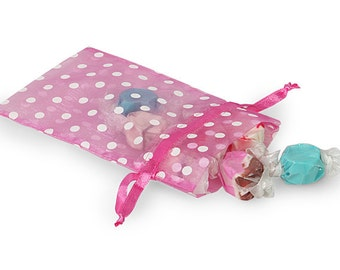 4 x 6 Pink Organza Bags with White Dots (10)