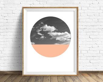 "nature photography, large art, large wall art, printable art, instant download printable art, landscape prints, art - ""Cloudscape and Coral"""