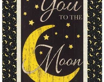 """Timeless Treasures - To the Moon and Back - 35-1/2"""" x 55-1/2"""" Wall or Lap Quilt Kit (includes fabric for top of quilt & binding) - AAFQK-225"""