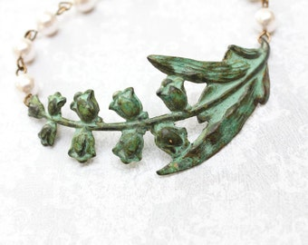 Lily of the Valley Bracelet Rustic Wedding Bridesmaids Gift Bridal Jewelry Verdigris Patina Cuff Ivory Cream Pearl Bracelet Green Easter