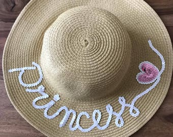 Princess hat, floppy hat, personalised hat, kids hat, customised sun hat, kids sun hat, kids accessories, bespoke kids hat, kids floppy hat