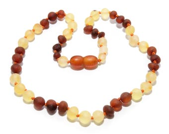 Genuine raw unpolished natural Baltic amber teething necklace for baby, baby teething necklace, amber beads, baby necklace