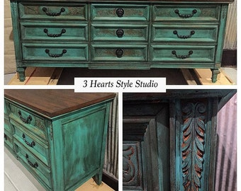 Turquoise Dresser Collection- painted furniture, furniture, refinished furniture, Denver, Colorado Springs, buffet, teal, dresser, armoire