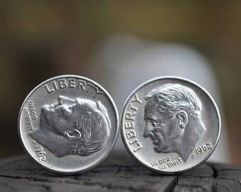 Boutons de manchette... Boutons de manchette en dime Roosevelt argent fabriqués à partir de.90 authentique argent 1962 dimes Roosevelt le patriote, dans votre vie