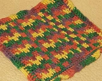 Crochet cotton wash cloth, multi color