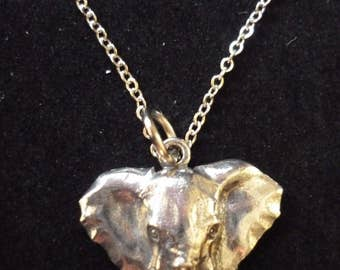 """Elephant W6 Pewter On a 16"""" 18"""" 20"""" 24"""" inch Silver Plated Curb Chain Necklace"""