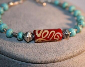 INDIAN SAHARA Ceramic, Turquoise, and Sterling Bracelet