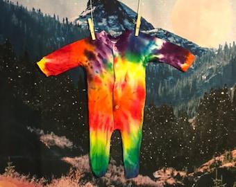 rainbow tie dye footed sleeper, 3-6 months